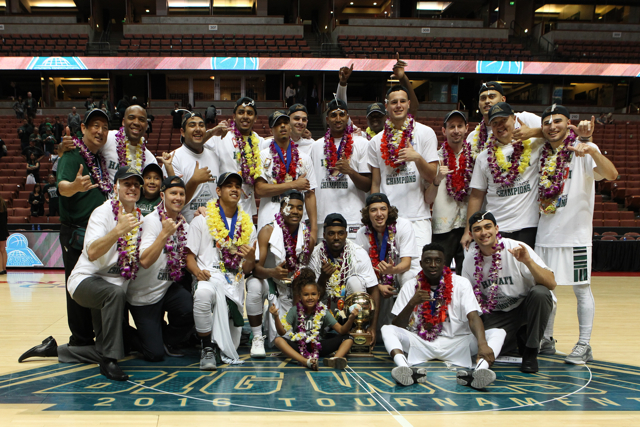 The University of Hawaii men's basketball team defeats Long Beach State and captures the championship of the 2016 Big West Tournament at the Honda Center, Anaheim, CA on March 12, 2016. Photo: Brandon Flores.